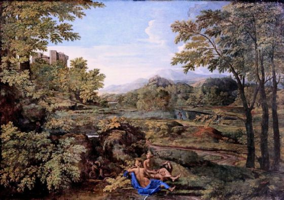 Poussin, Nicolas: Landscape with Two Nymphs. Fine Art Print/Poster. Sizes: A1/A2/A3/A4 (003424)